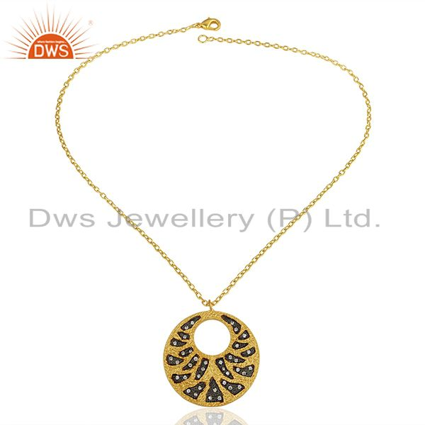 Exporter Round Design Brass Gold Plated White Zircon Cz Gemstone Pendant