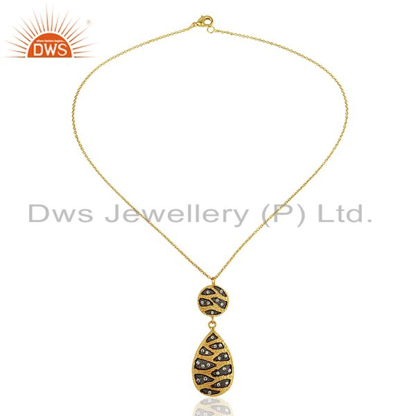 Exporter Traditional Gold Plated Brass Fashion Cz Gemstone Pendant Wholesale