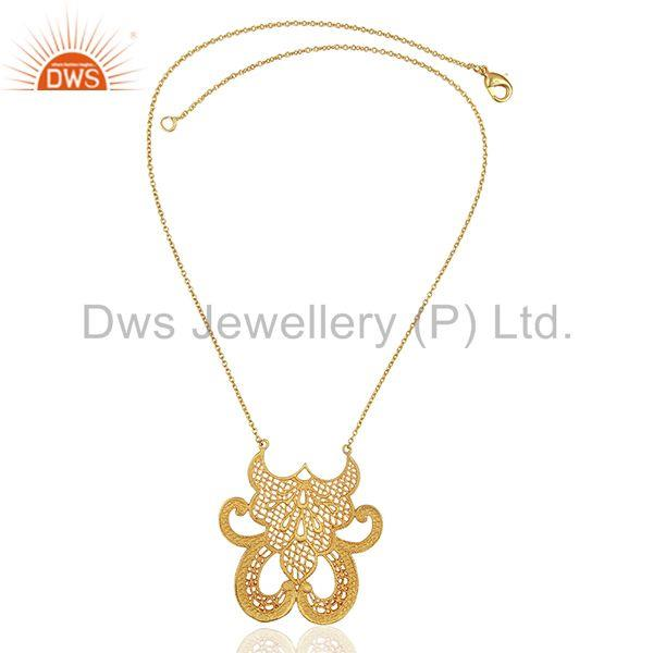 Exporter Gold Plated Brass Filigree Design Wedding Wear Necklace Jewelry