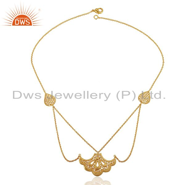 Exporter Indian Filigree Design Gold Plated Brass Fashion Wedding Wear Necklace