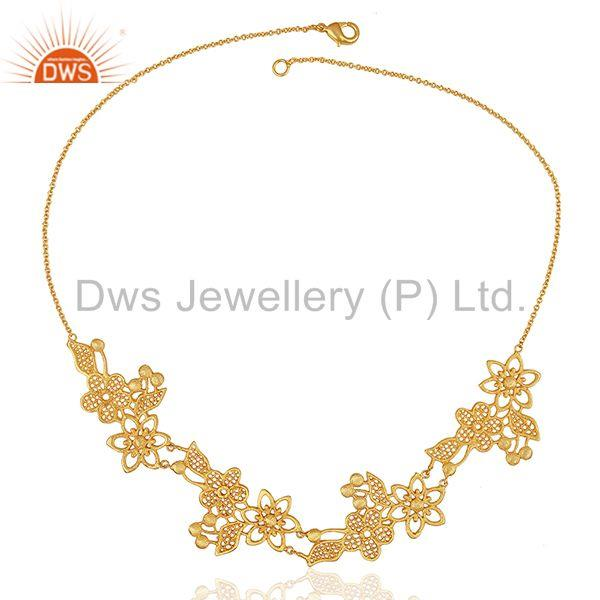 Exporter Floral Design Brass Gold Plated Fashion Women Necklace Jewelry