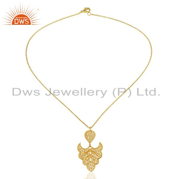 Exporter Filigree Design Gold Plated Brass Traditional Fashion Pendant Jewelry