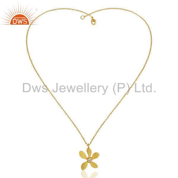 Exporter Floral Design Brass Gold Plated Fashion White Zircon Pendant Jewelry