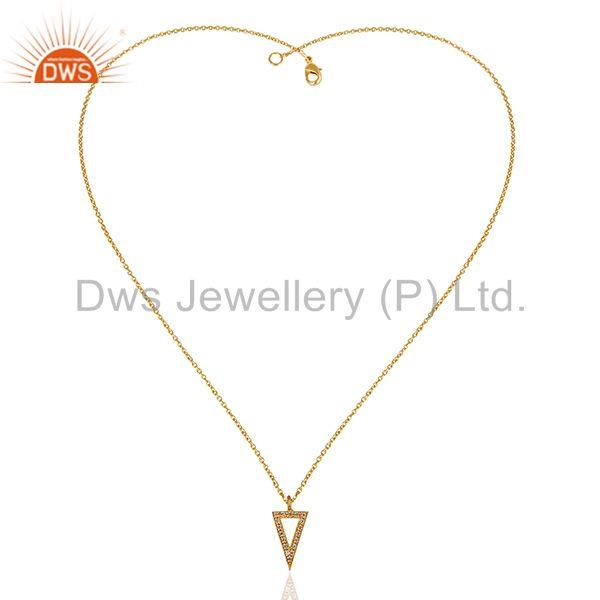 Exporter Triangle Design Brass Gold Plated White Zircon Chain Pendant Jewelry