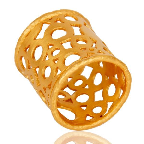 Exporter Good Design Tradition Brass Ring With 18k Gold Plated