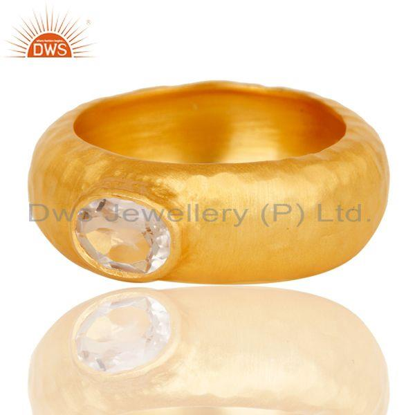 Exporter AAA+++ Design Brass Ring With 18k Gold Plated and Crystal Quartz