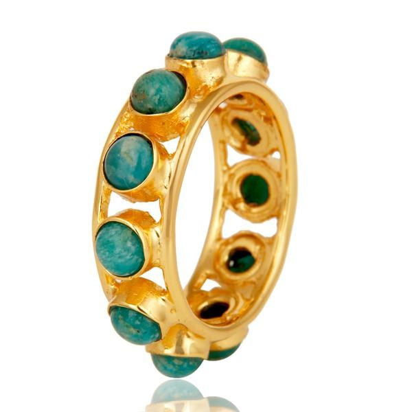 Exporter 18k Gold Plated Traditional Round Cut Ring with Amazonite