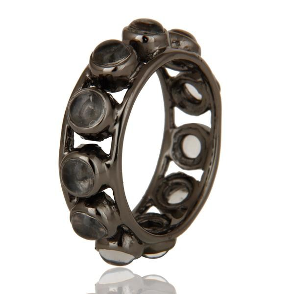 Exporter Traditional Black Oxidized Round Cut Brass Ring with Crystal
