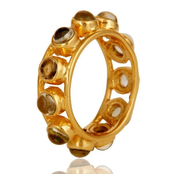 Exporter Traditional 18k Gold Plated Round Cut Brass Ring with Lemon Topaz
