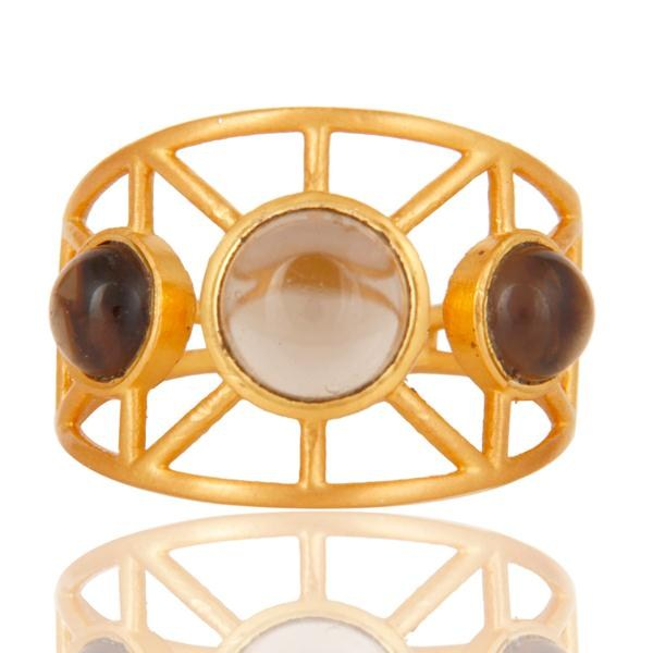 Exporter 18k Gold Plated Traditional Brass Ring with Smokey Topaz