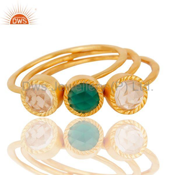 Exporter 18K Gold Plated Green Onyx & Crystal Quartz 3 Set Of Brass Stackable Ring