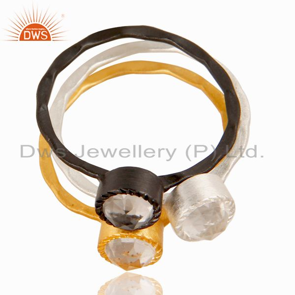 Exporter 14K Gold, Black Oxidized & Silver Plated Crystal Quartz Three Set Of Brass Ring