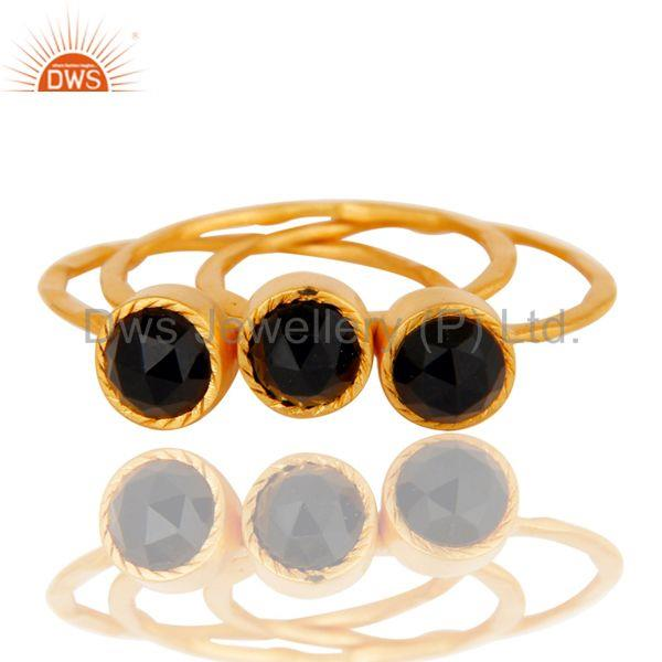 Exporter 18K Gold Plated Black Onyx Rose Cut 3 Set Of Brass Stackable Ring