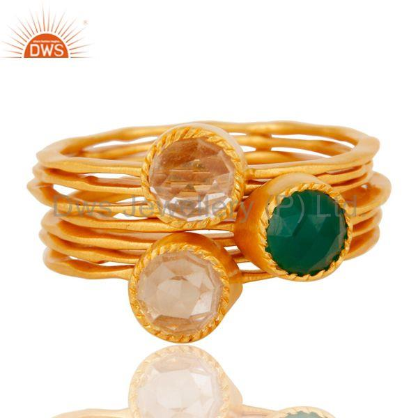 Exporter Crystal And Green Onyx Studded 8 Hammered Thin bands Designer Ring