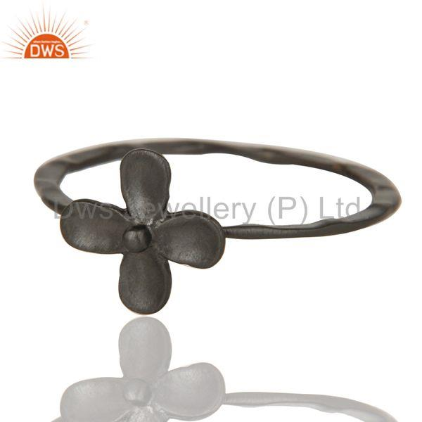 Exporter Lovely Black Oxidized Handmade Flower Design Brass Stackable Ring