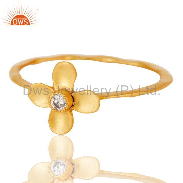 Exporter Handmade Flower Design White Zirconia Brass Stackable Ring With 18k Gold Plated