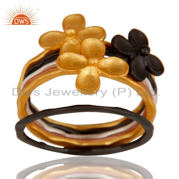 Exporter 18K Rose, Gold, Black & Silver Plated Handmade Six Set Of Brass Stackable Ring
