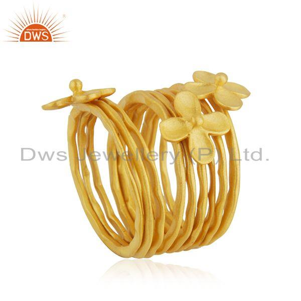 Exporter Wholesale Floral Brass Gold Plated Handmade 9 Rings Set Jewelry