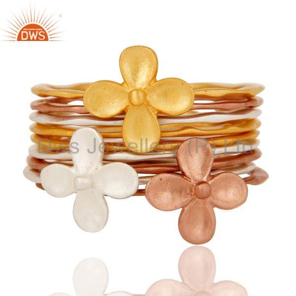 Exporter 18K Gold, Rose, Silver Plated Handmade Eight Set Of Brass Stackable Ring