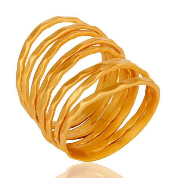 Exporter Traditional Handmade Roll Design Brass Ring with 18k Gold Plated Jewellery