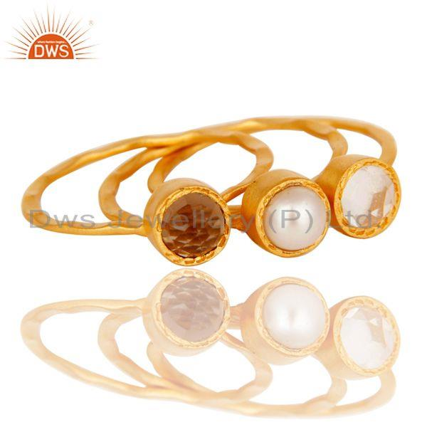 Exporter Crystal, Pearl & Smokey Topaz Three Set Brass Ring with 18k Gold Plated