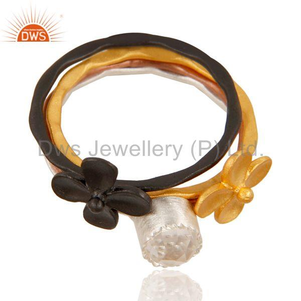 Exporter Floral Design Multi Color Brass Fashion Rings Jewelry Wholesale