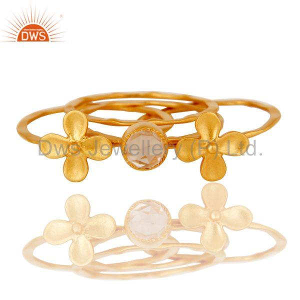 Exporter 22K Gold Plated Handmade Crystal Quartz 3 Set Of Brass Stackable Ring
