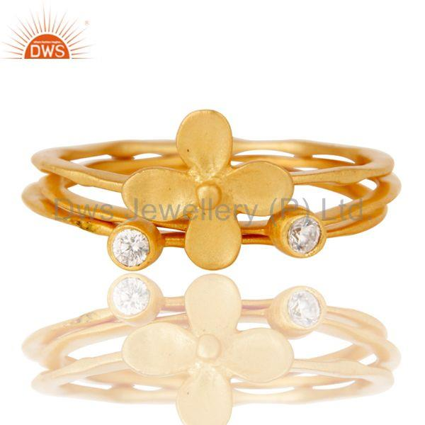 Exporter 18k Gold Plated White Zirconia 3 Set Of Charm Statement Brass Ring