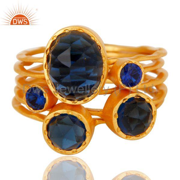 Exporter 22K Gold Plated Zircon Blue Sapphire & Blue Corrundum 5 Set Of Ring