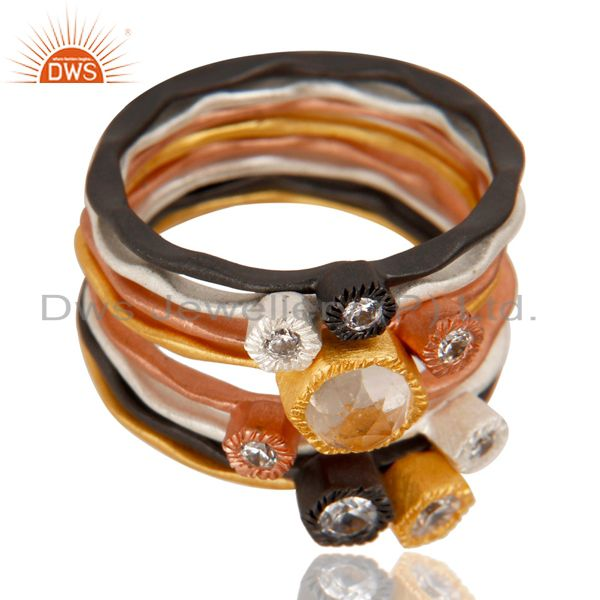 Exporter White Zircon Multi Color Brass Fashion Ring Set Jewelry Manufacturer