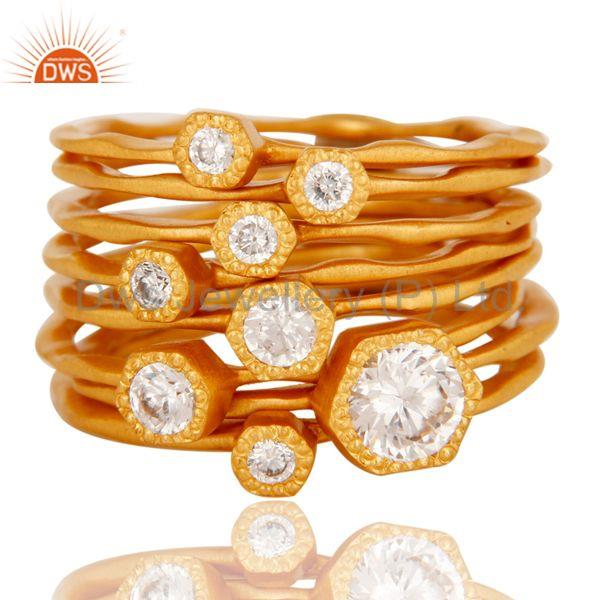 Exporter 22K Gold Plated Handmade White Zirconia 8 Set Of Brass Stackable Ring