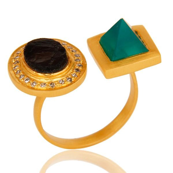 Exporter Green Onyx, White Zircon & Smokey Rough with 18k Gold Plated Brass Ring