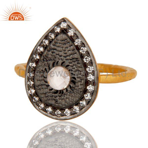 Exporter 18k Gold Plated Handmade Design Brass Ring with White Zircon