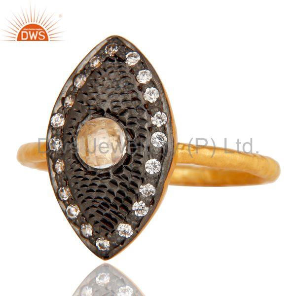 Exporter Traditional 18k Gold Plated Handmade Design Brass Ring with White Zircon
