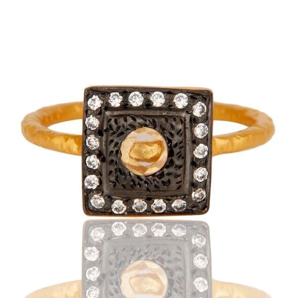 Exporter White Zircon With 18k Gold Plated Square Design Brass Ring