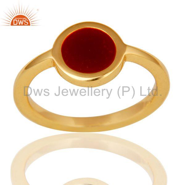 Exporter 18k Yellow Gold Plated Traditional Handmade Red Enamel Brass Ring Jewellery