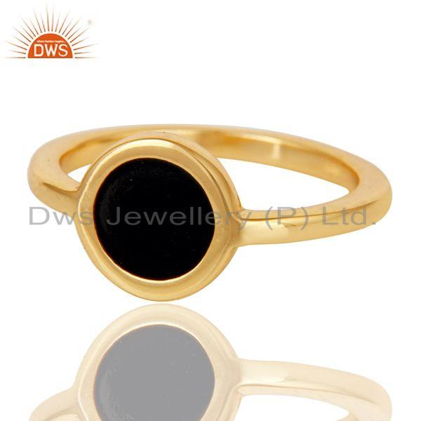 Exporter 18k Yellow Gold Plated Traditional Handmade Black Enamel Brass Ring Jewellery