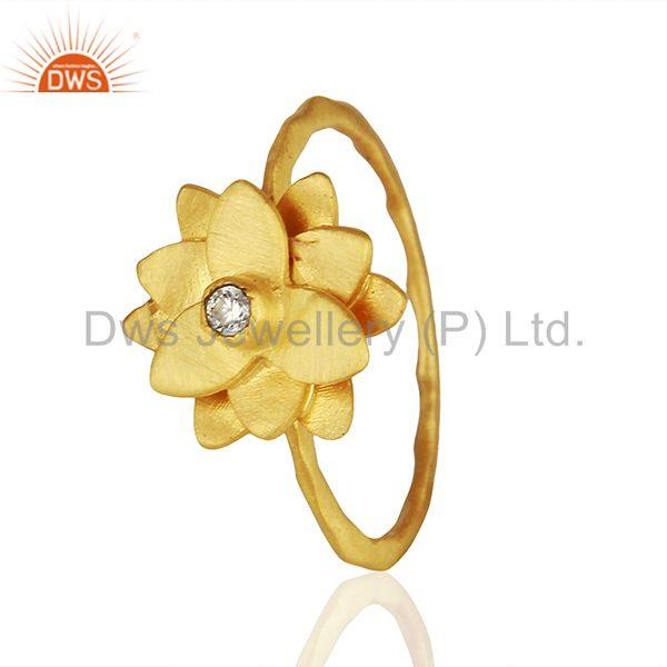 Exporter Traditional Handmade Flower Brass Flower Design Ring with 18k Gold Plated & CZ