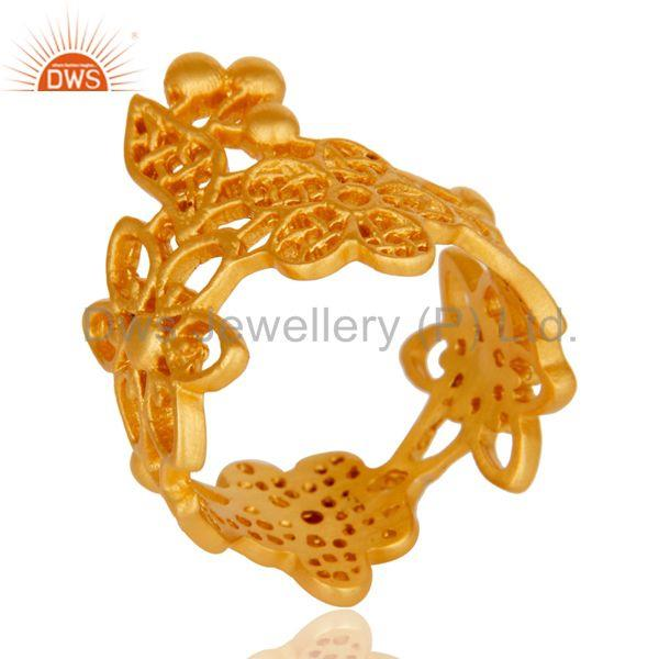 Exporter Fine Flower Design Handmade Brass Ring with 18k Gold Plated