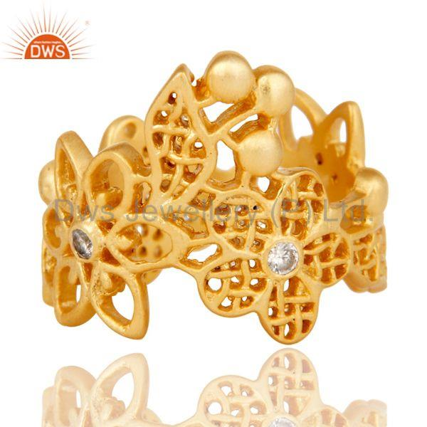 Exporter Traditional Handmade 18K Gold Plated White Zirconia Filigree Jewellery Ring
