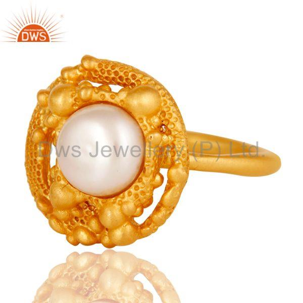 Exporter 18k Gold Plated Traditional Handmade Brass Ring with Pearl