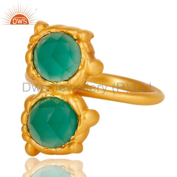 Exporter 18k Gold Plated Green Onyx Chekered Stone Design Brass Ring