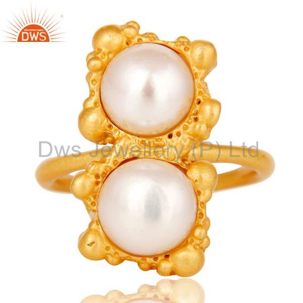 Exporter 18k Gold Plated Natural Pearl Stone Design Brass Ring