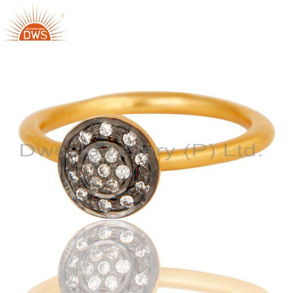 Exporter 18k Gold Plated Traditional Handmade Engagament Brass Ring with White Zircon