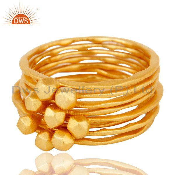 Exporter Traditional Handmade 18K Yellow Gold Plated 8 Set Of Brass Stackable Ring