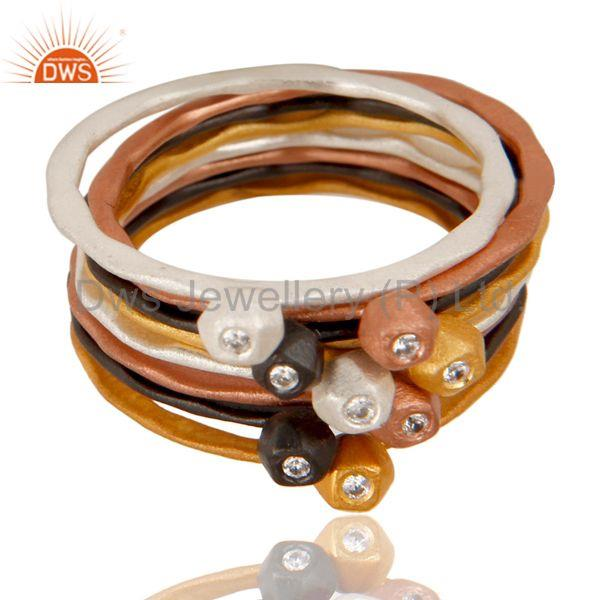 Exporter Multi Color Brass White Zircon Fashion Set of Eight Ring Jewelry