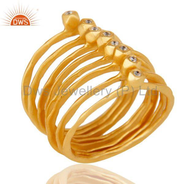 Exporter 18K Yellow Gold Plated Handmade White Zirconia 8 Set Of Brass Stackable Ring