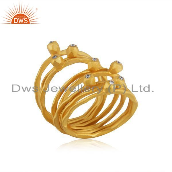 Exporter Handmade Gold Plated Silver CZ 8 Rings Set Jewelry Supplier