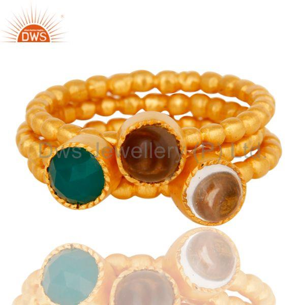 Exporter Crystal, Smokey & Green Onyx Three Set Brass Ring with 18k gold Plated