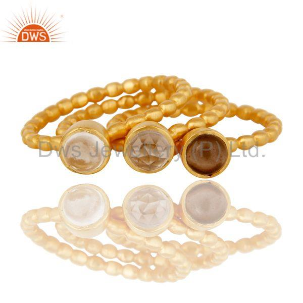 Exporter 18K Gold Plated Smokey Topaz & Crystal Quartz 3 Set Of Brass Stackable Ring